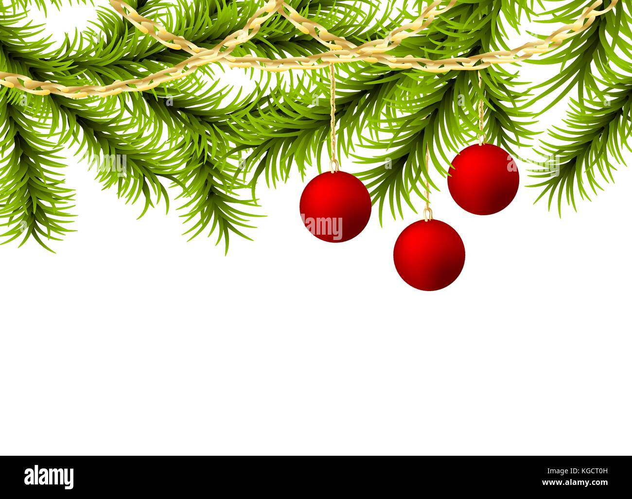 Christmas tree ball golden garland - Stock Vector