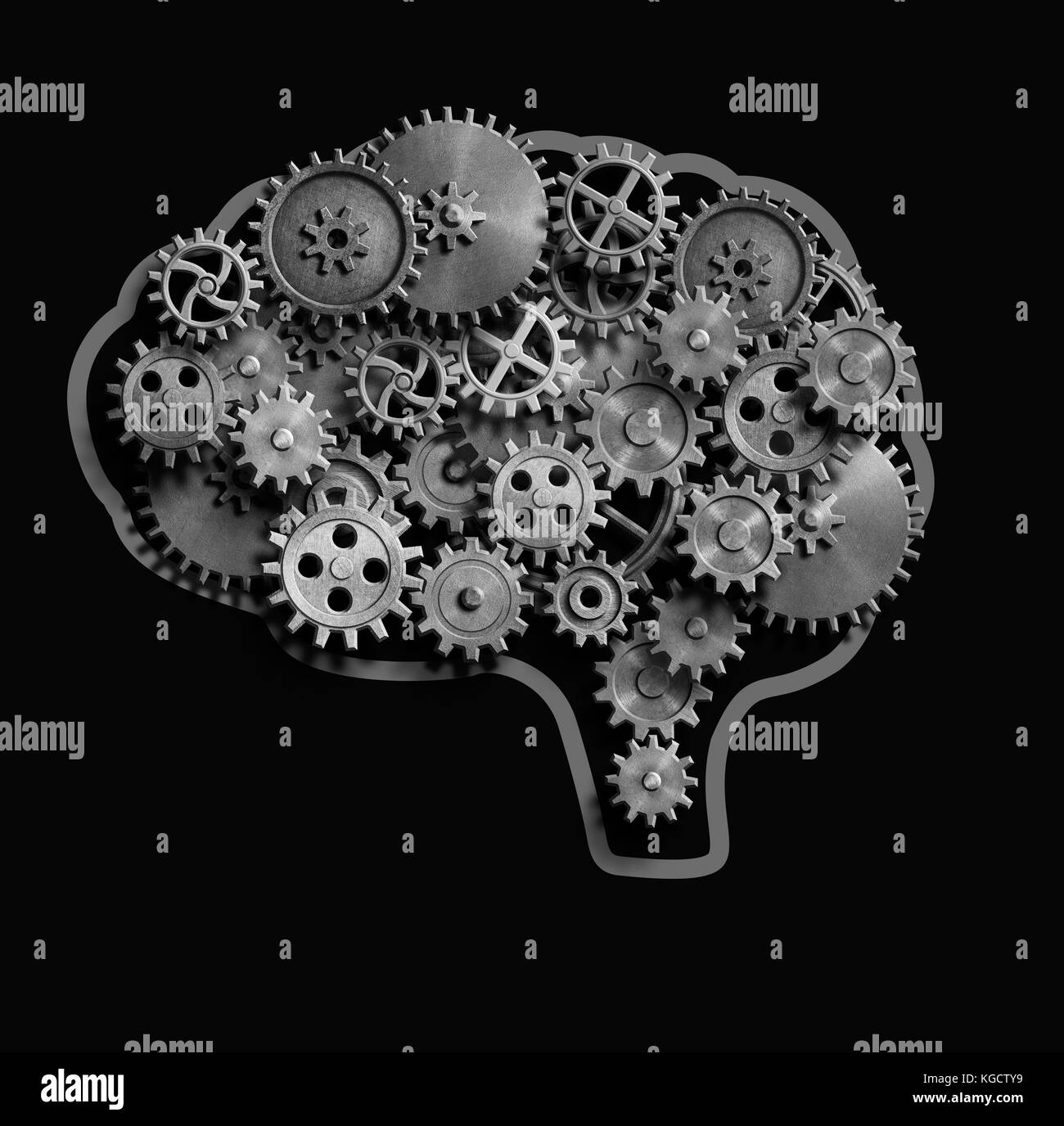 Brain made from metal gears and cogs 3d illustration - Stock Image