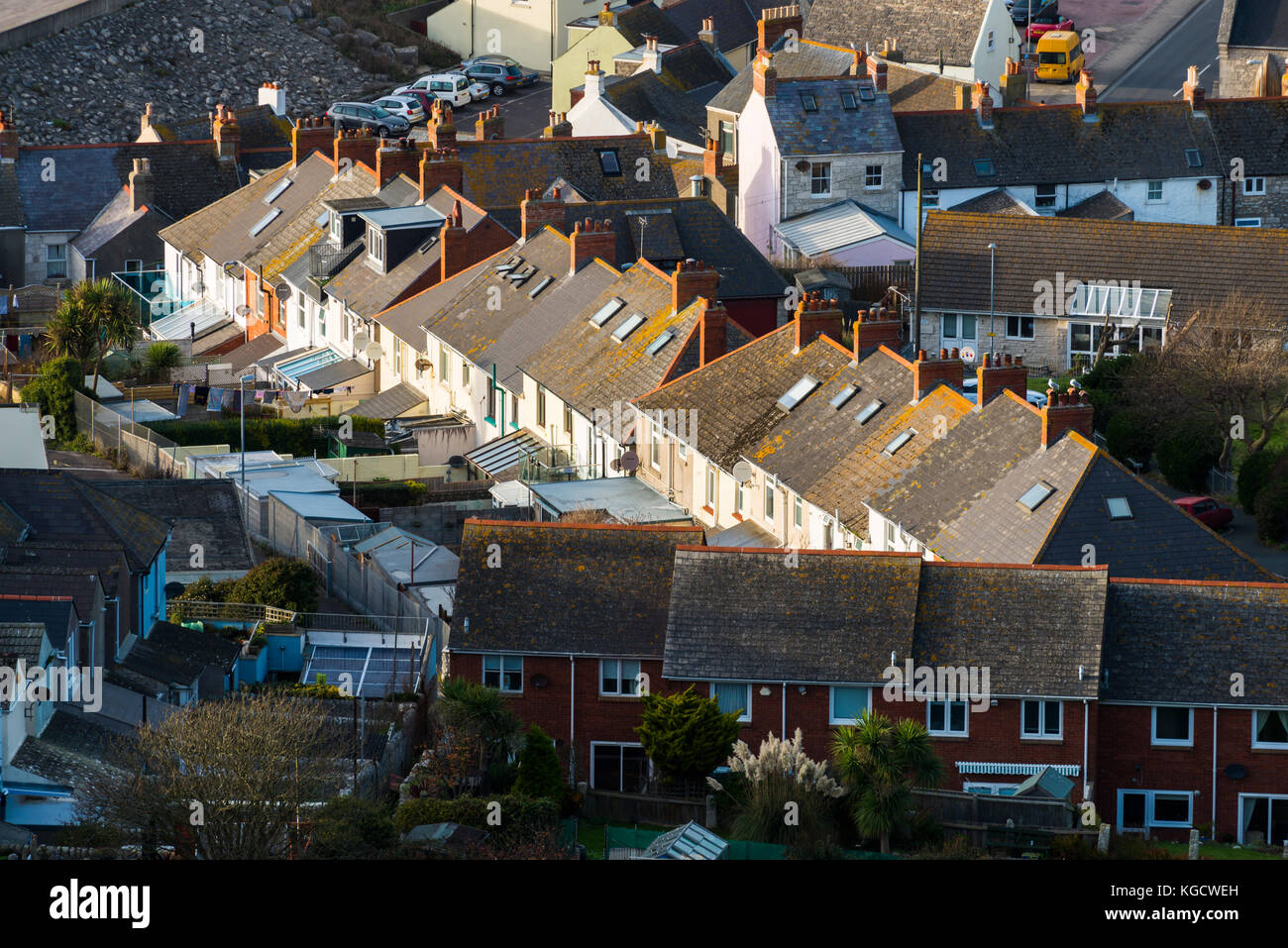 A view of houses and rooftops at Fortuneswell on the Isle of Portland in Dorset.  Picture Credit: Graham Hunt/Alamy - Stock Image