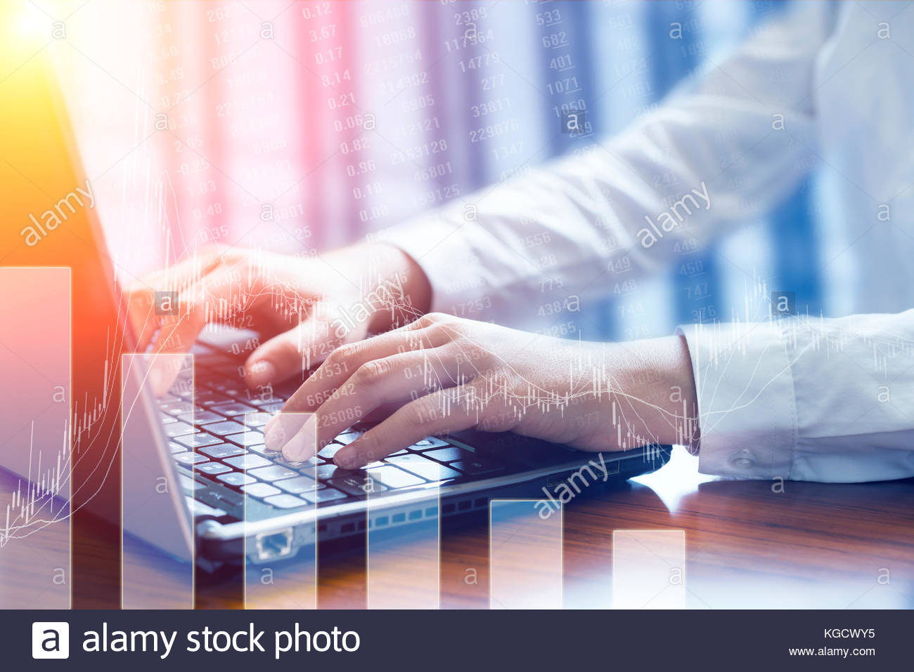 Business women use laptops in their offices - Stock Image