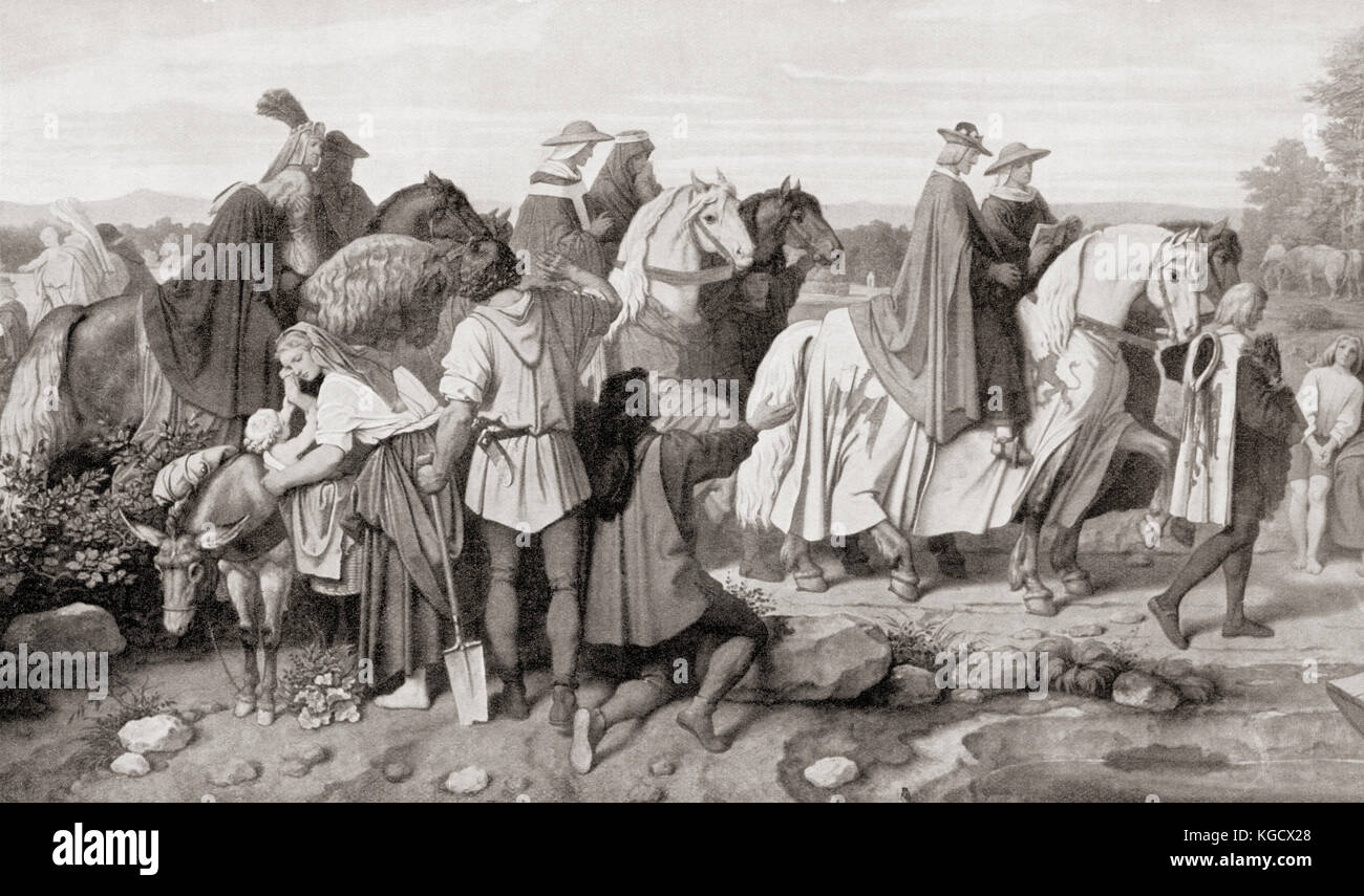 The journey of Rudolf I of Germany to Speyer, Germany where he died on 15 July 1291. Rudolf I, aka Rudolf of Habsburg, - Stock Image