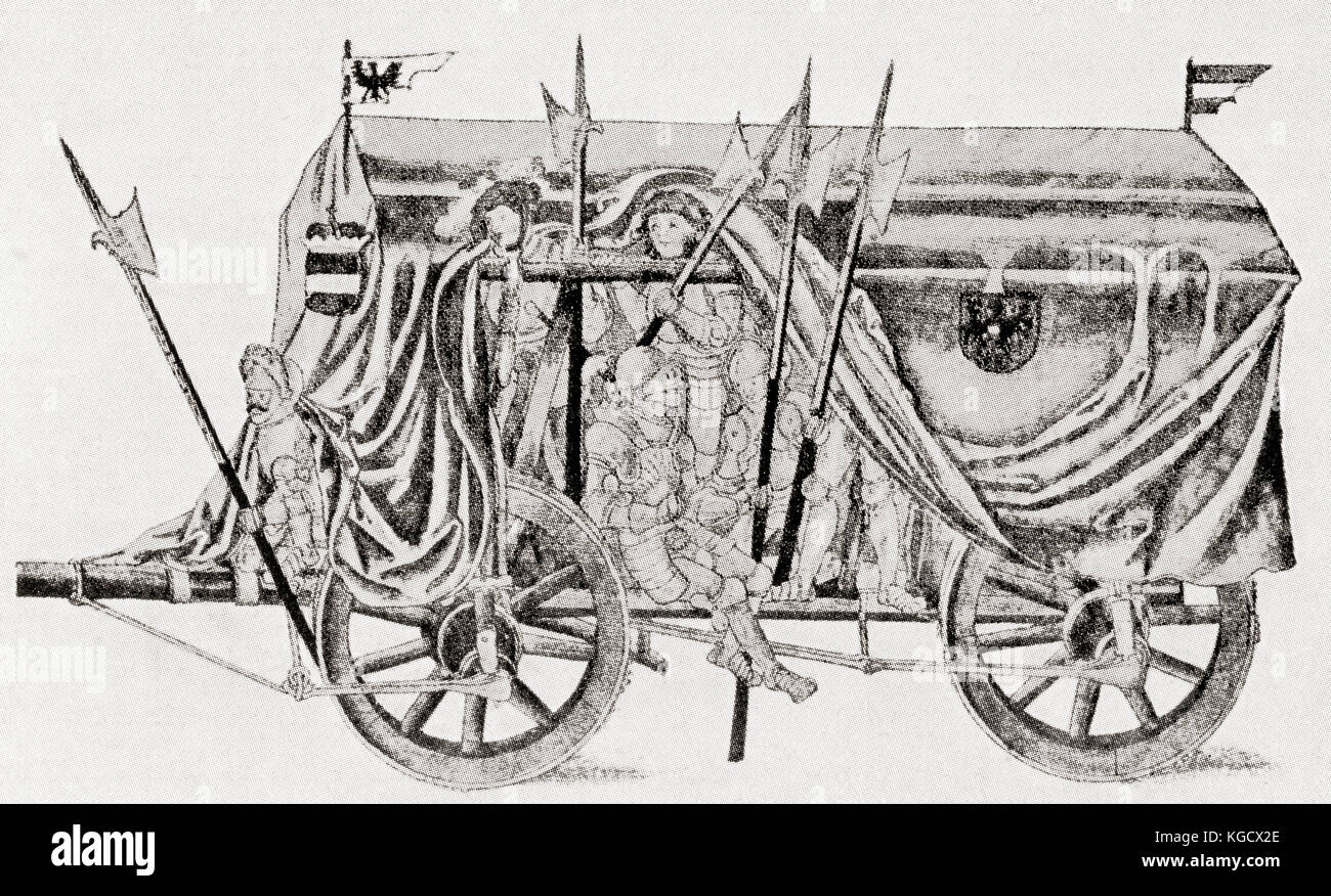 A troop waggon of the army of Maximilian I.  Used for transporting troops it was fully covered and held twenty five - Stock Image