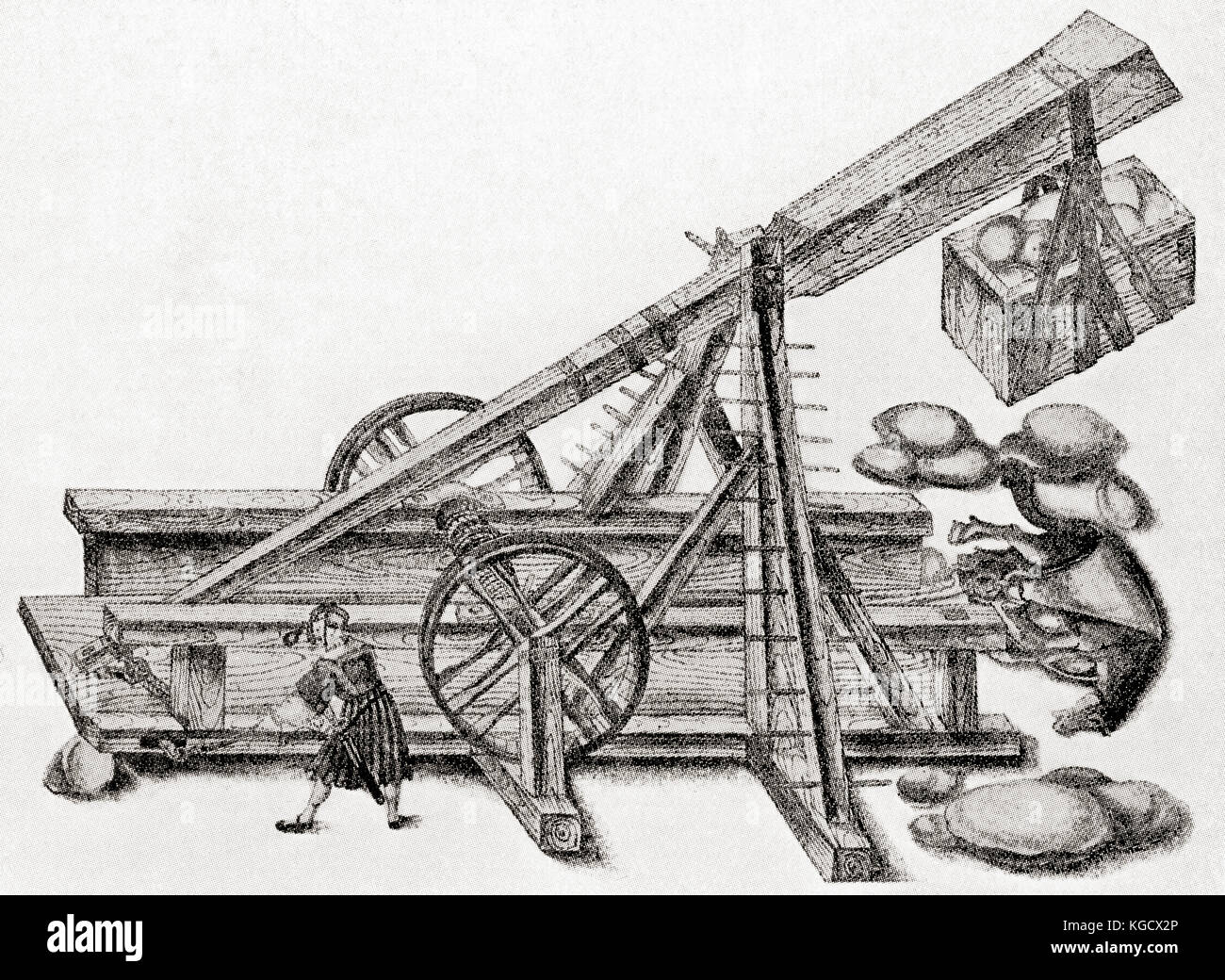 A catapult used by the army of Maximilan I.  This wooden machine was used for throwing stones, rocks or even rubbish - Stock Image