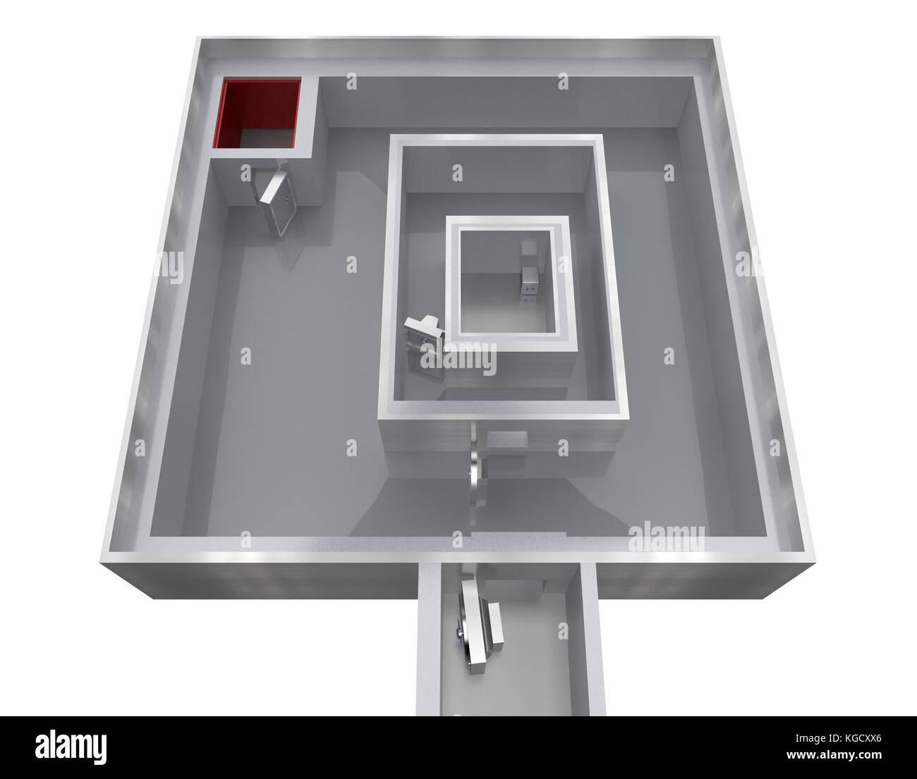 empty storage room bank top view 3d rendering - Stock Image