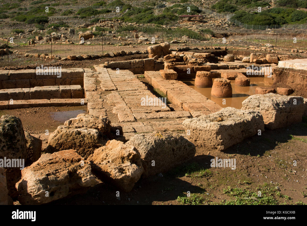 Phalasarna was a Hellenistic port and city state located  at the west coast of Crete. Most of the excavations date - Stock Image