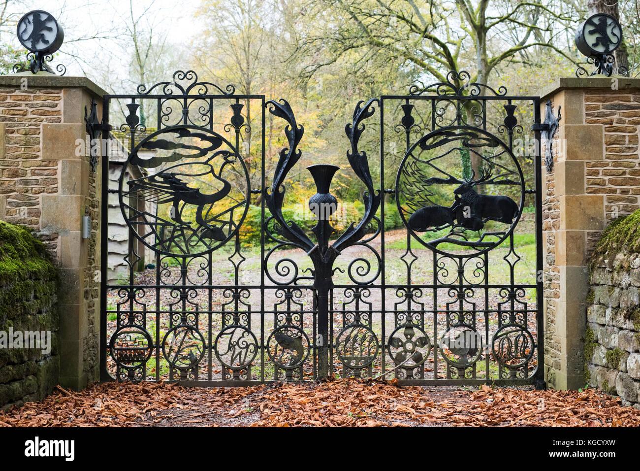 Wrought iron gates driveway stock photos