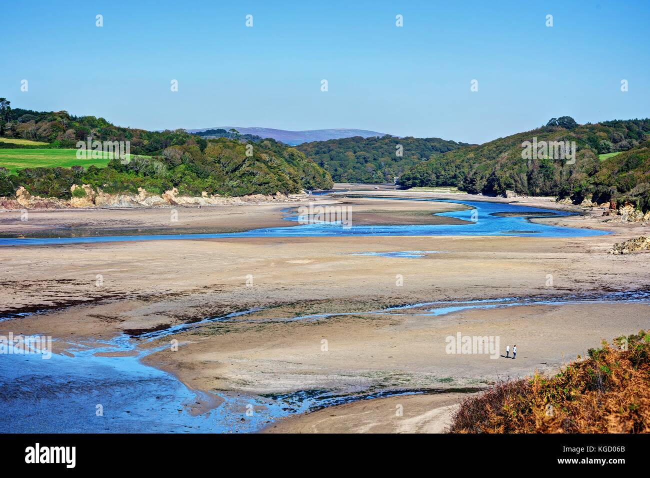 A long distance view down the beautiful Erme Estuary, South Devon. The tide being out and low makes it possible - Stock Image
