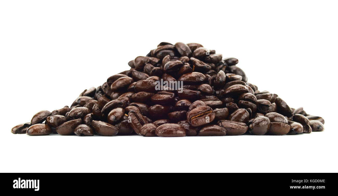 Isolated coffee bean pile on a white background - Stock Image
