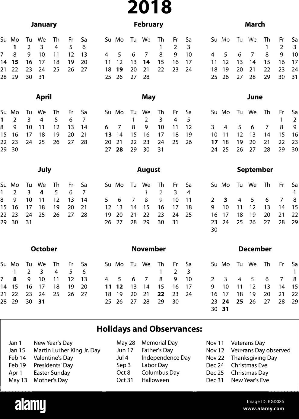 2018 Calendar with Holidays Black and White  One page with