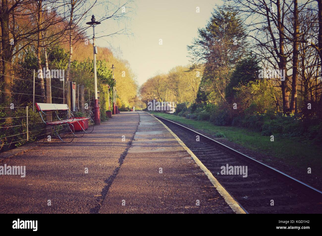View down the platform at Summerseat station on the East Lancashire Railway Stock Photo