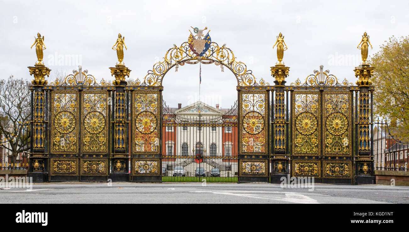 The Golden Gates in front of Warrington Town Hall Stock Photo