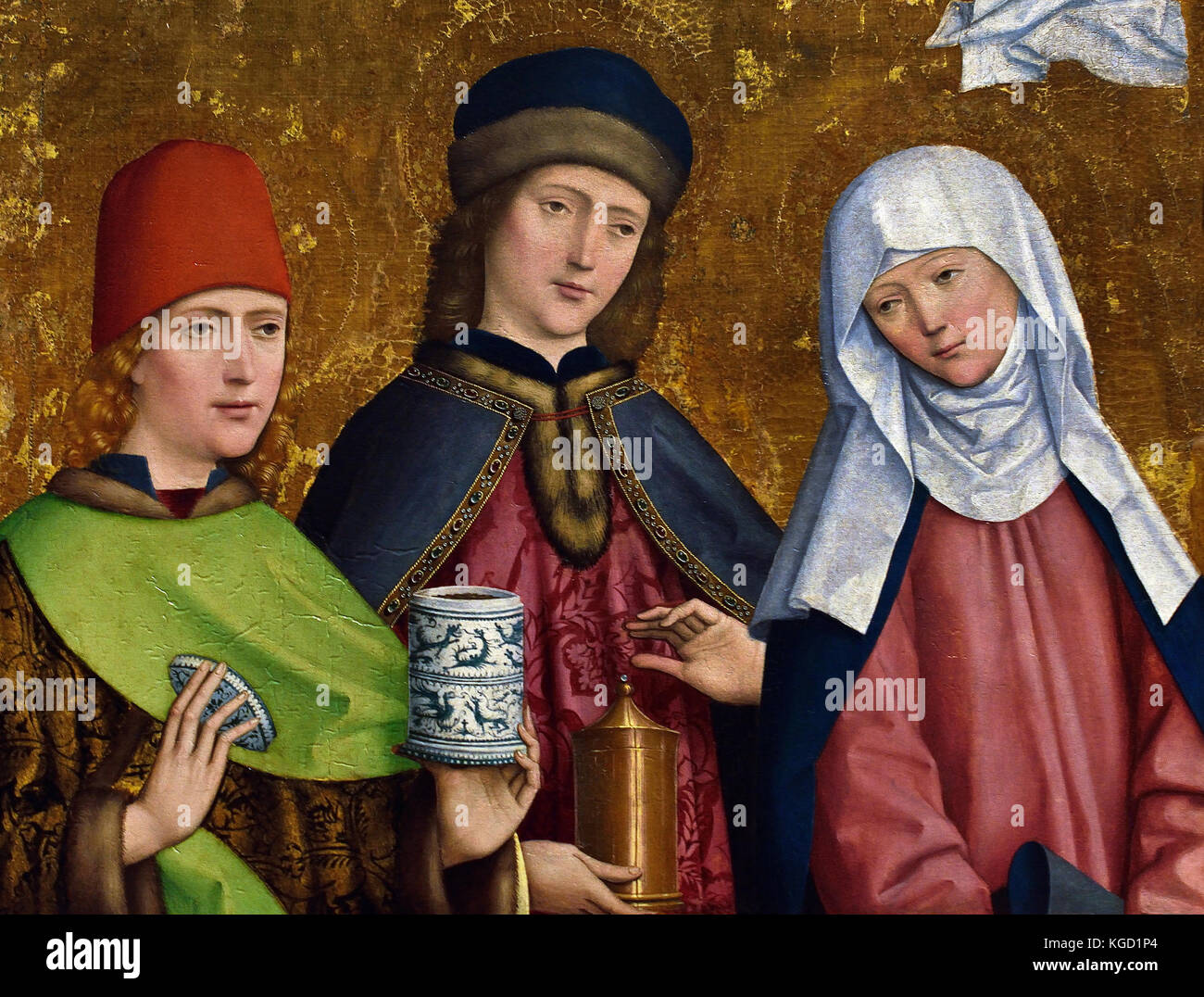 Saints Cosmas and Damian and the Virgin Altarpiece 1470  The Master of Liesborn is named from the dismembered high - Stock Image