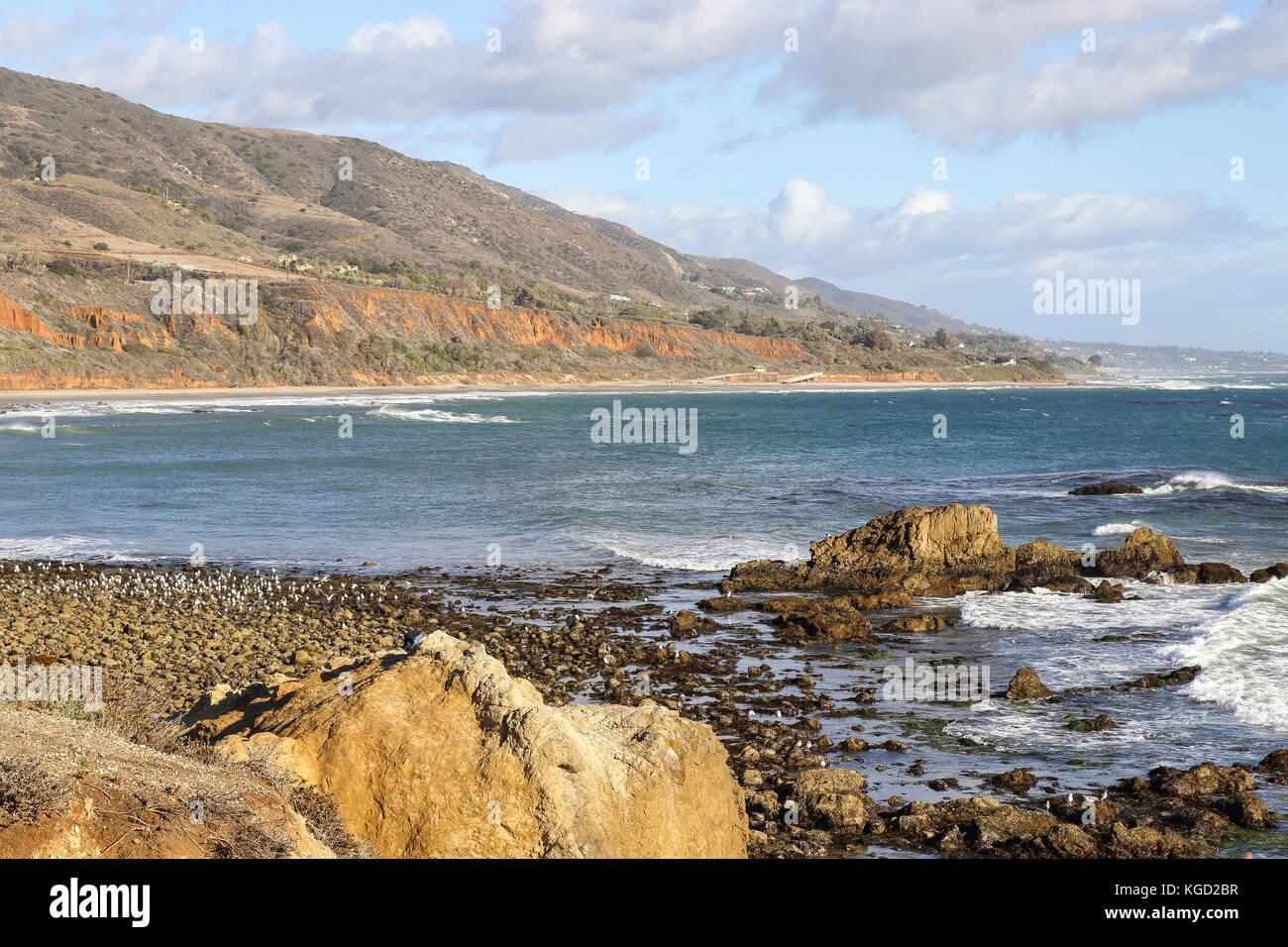 Sunny afternoon at Leo Carrillo State Beach, Malibu California Stock Photo