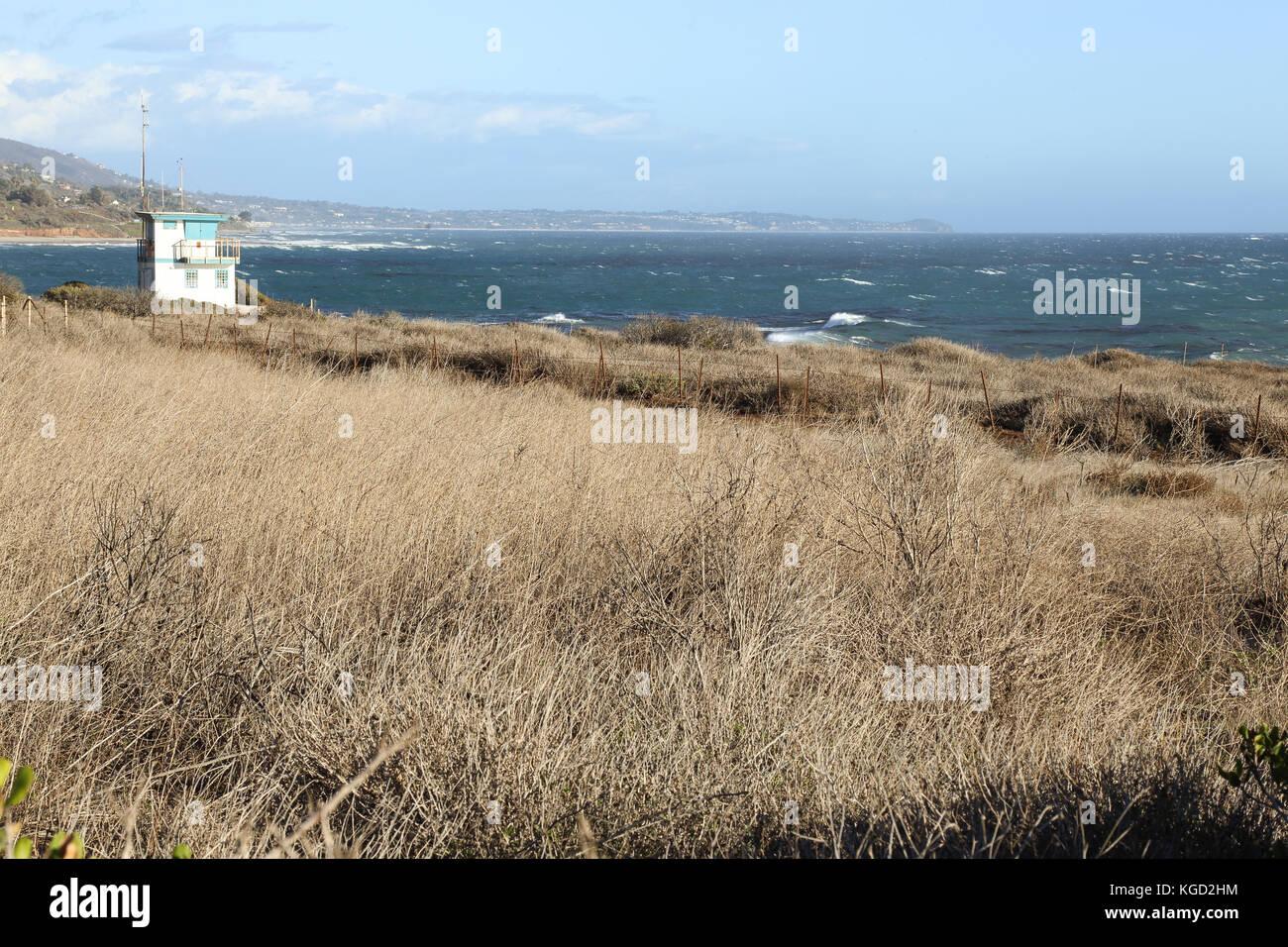 Lifeguard station at Leo Carrillo State Beach, Malibu California Stock Photo