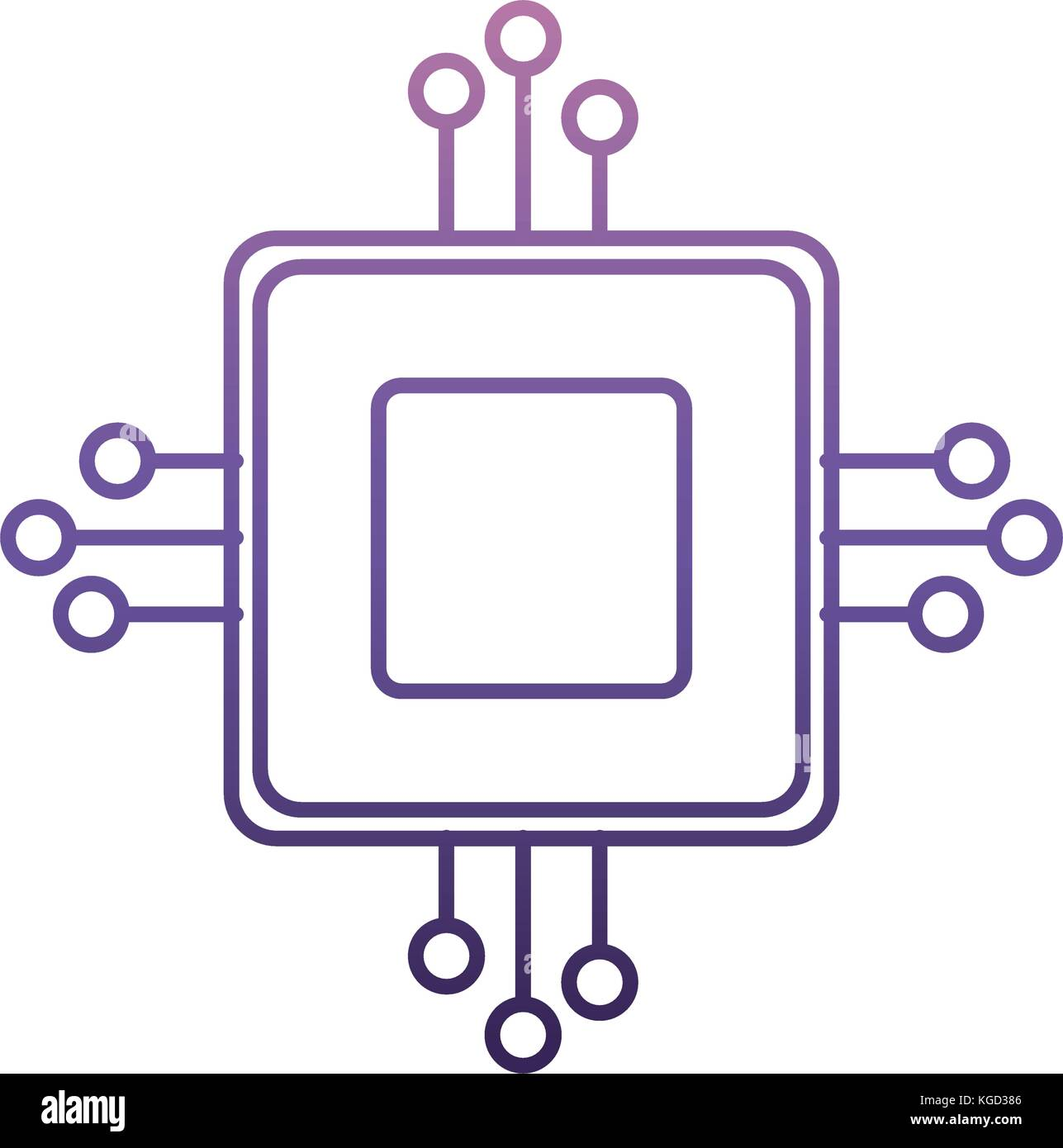 computer chip icon - Stock Image