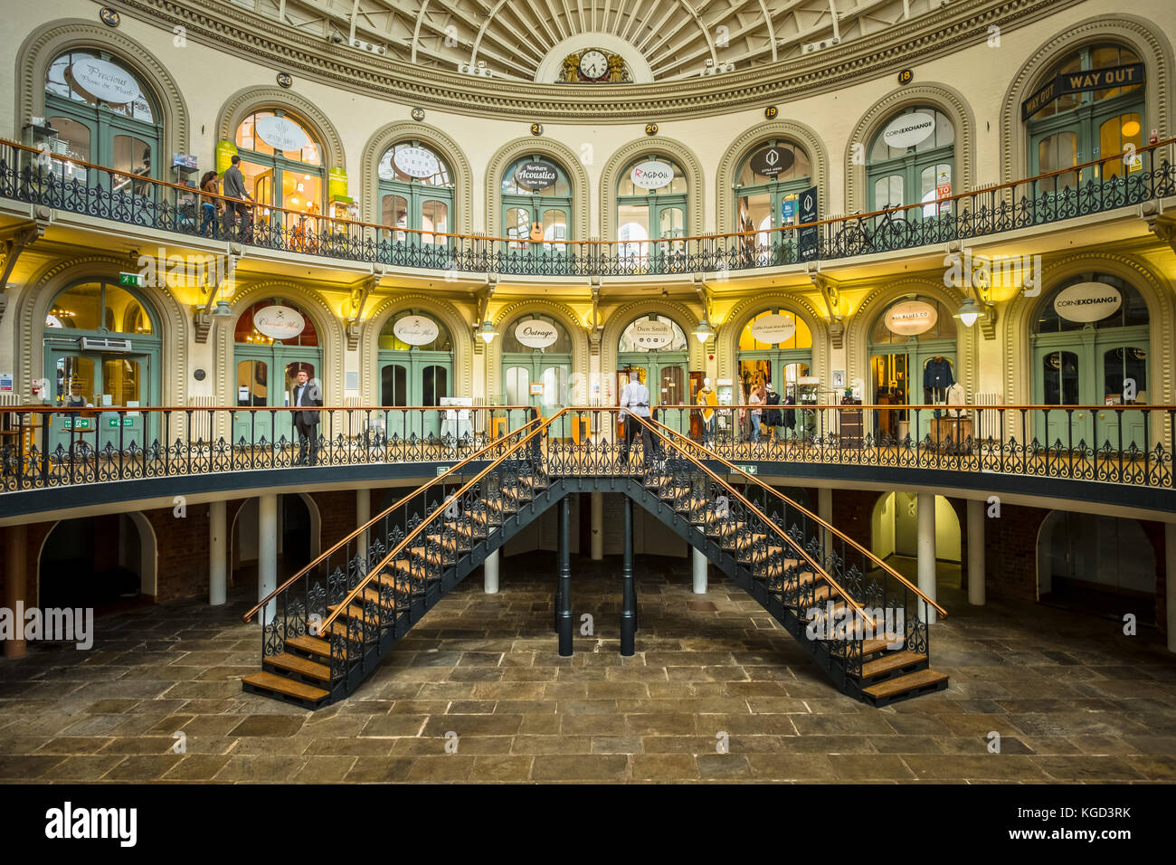 The Grade 1 listed Victorian Corn Exchange in Leeds is now filled with speciality shops. - Stock Image