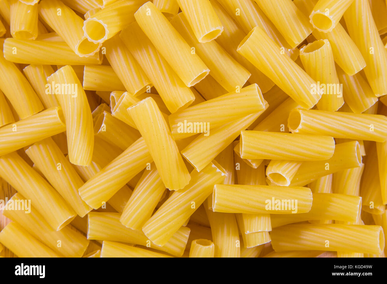 Short pasta obtained by processing durum wheat semolina. - Stock Image