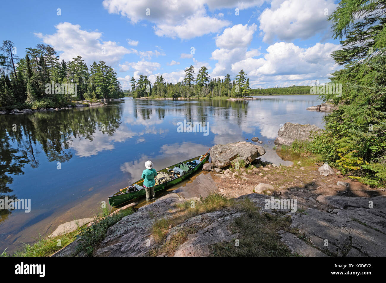 Ready for Adventure on the Falls Chain in Quetico Provincial Park in Ontario - Stock Image