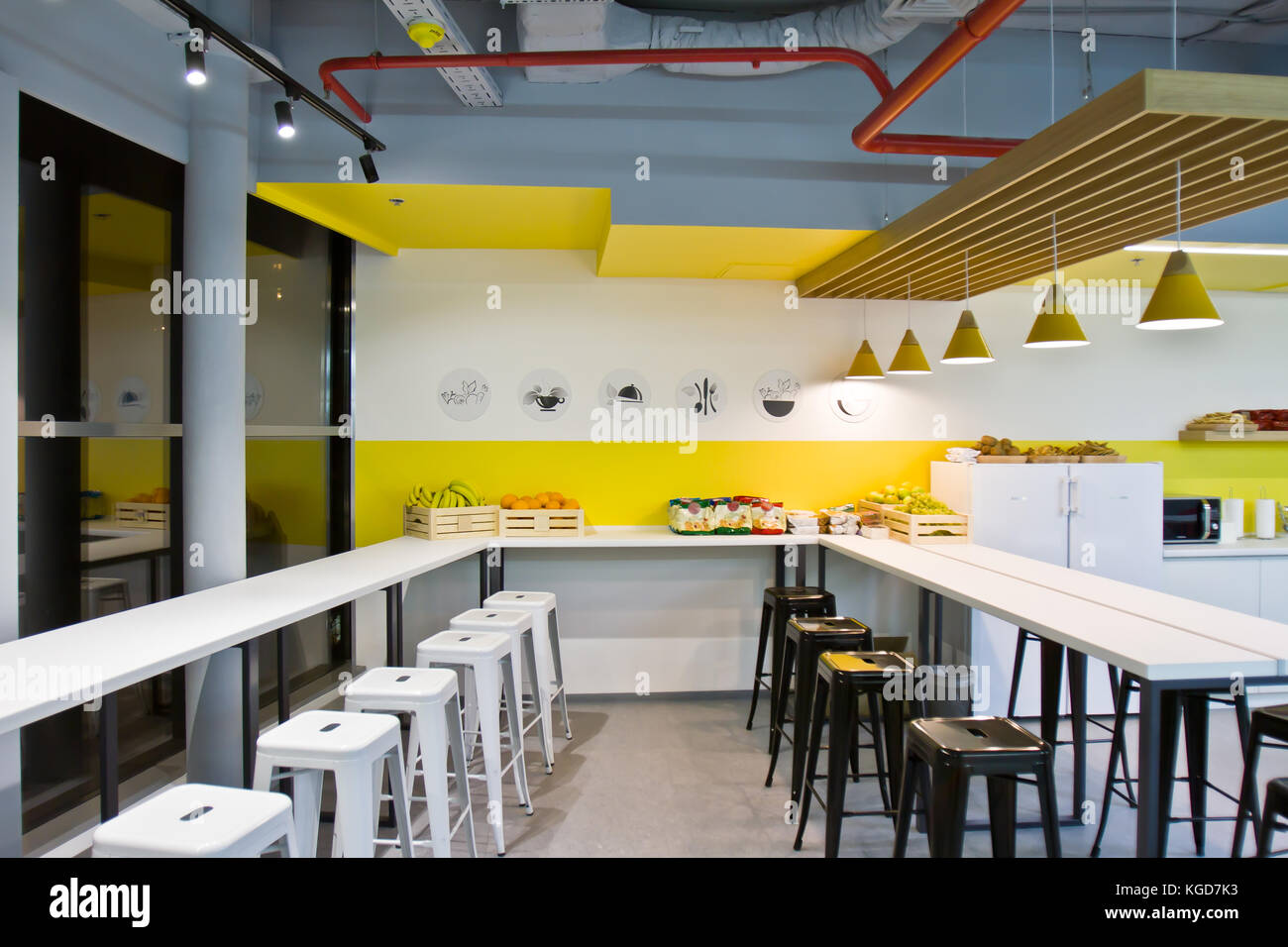 Luxury Dining Room Small Office And Modern White Kitchen Interior Stock Photo Alamy