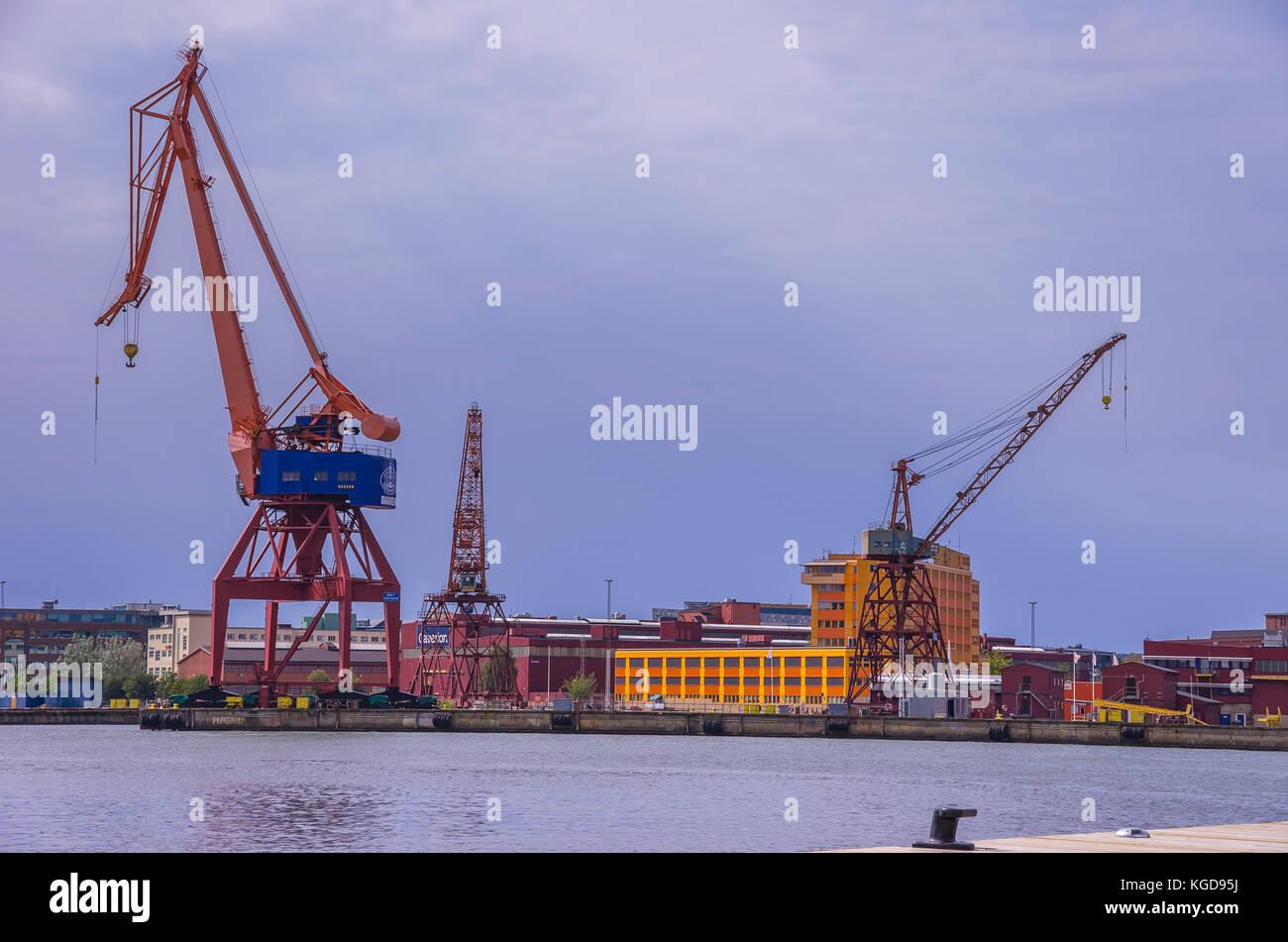 Dockside cranes in the harbor of Gothenburg, Bohuslän, Sweden. - Stock Image