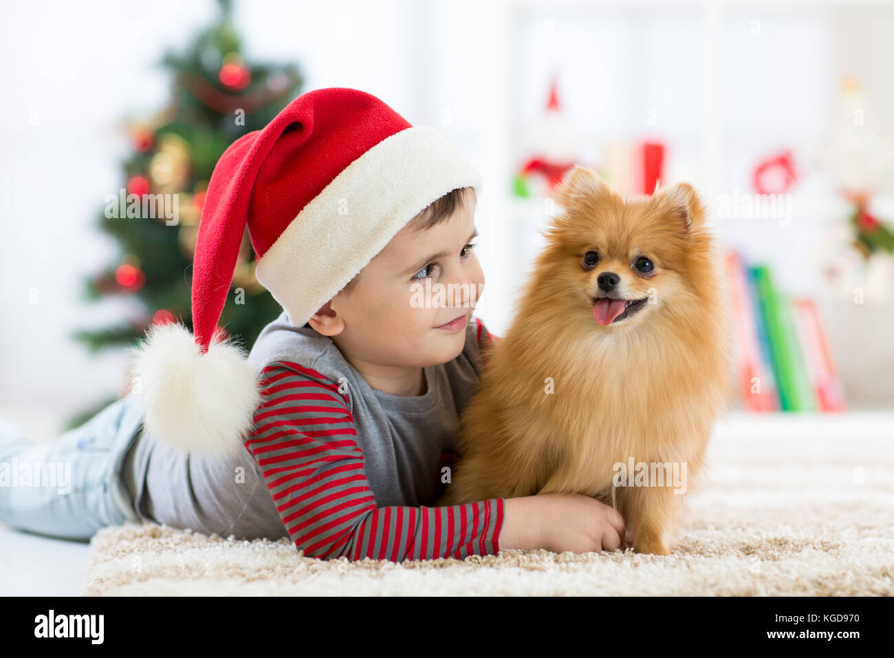 Little boy embracing puppy dog at Christmas, New year background. Stock Photo