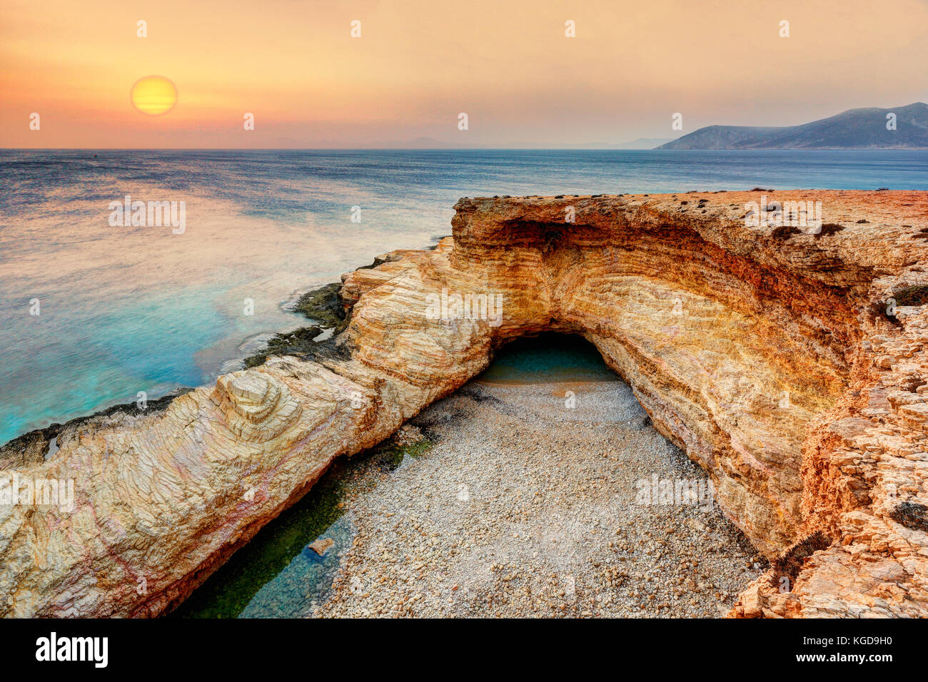 The sunrise at the famous Gala of Koufonissi island in Cyclades, Greece - Stock Image