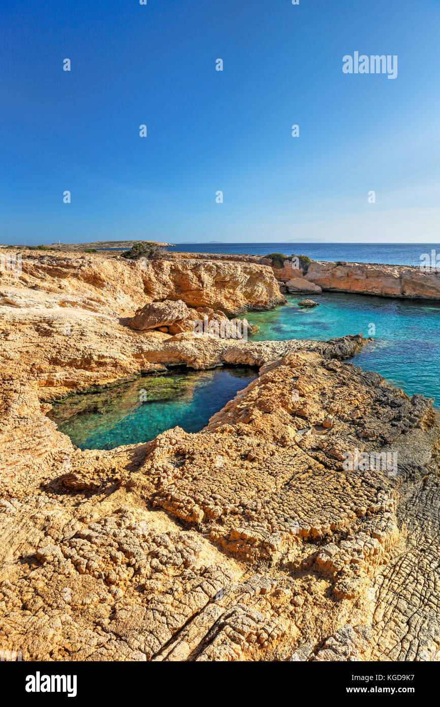 Pissina of Koufonissi island in Cyclades, Greece - Stock Image