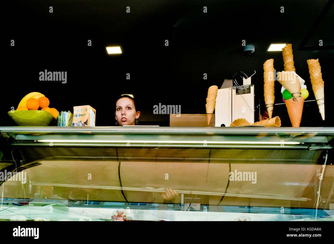 seller of ice creams in Olomouc, Czech republic - Stock Image