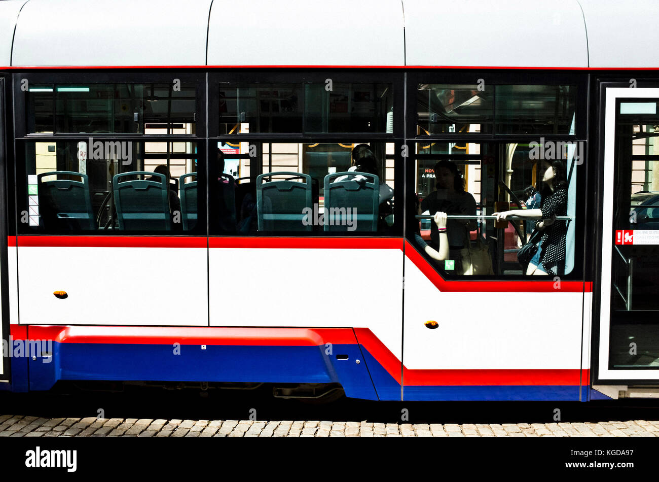 people in a tramway in Olomouc - Stock Image