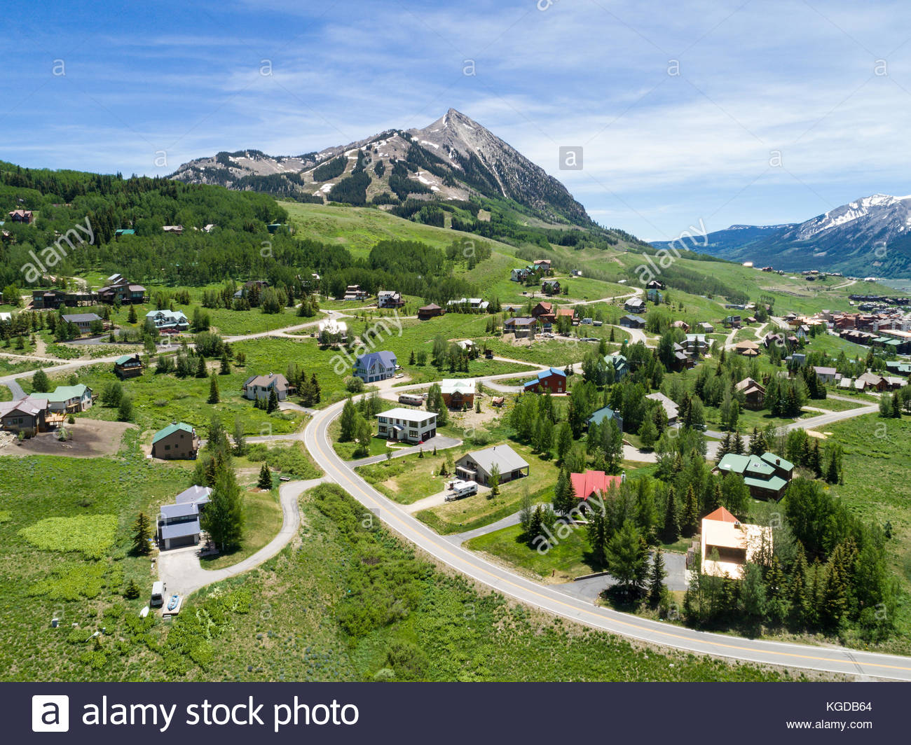 The Rocky Mountain ski village of Mount Crested Butte, Colorado on a summer day. - Stock Image