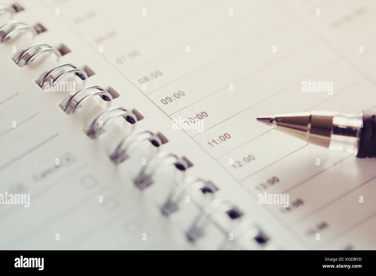 close up of empty schedule sheet for time management stock photo