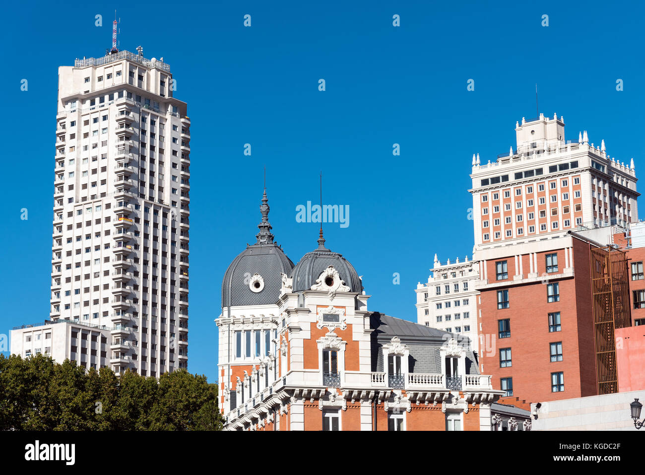 Typical buildings seen in Madrid, Spain Stock Photo
