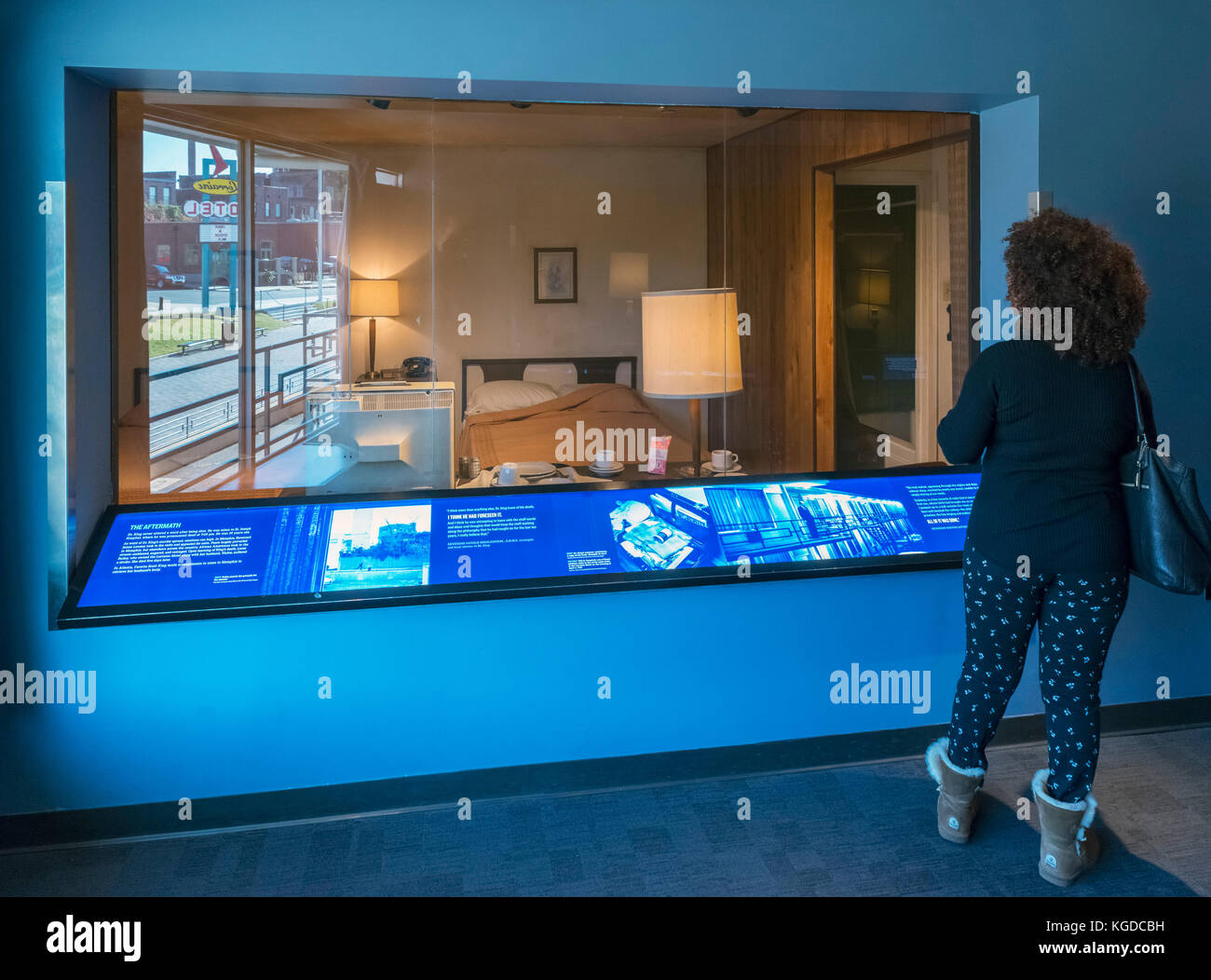 National Civil Rights Museum, Memphis. Room at Lorraine Motel in which Martin Luther King Jr was staying when shot In 1968, Memphis, Tennessee, USA Stock Photo