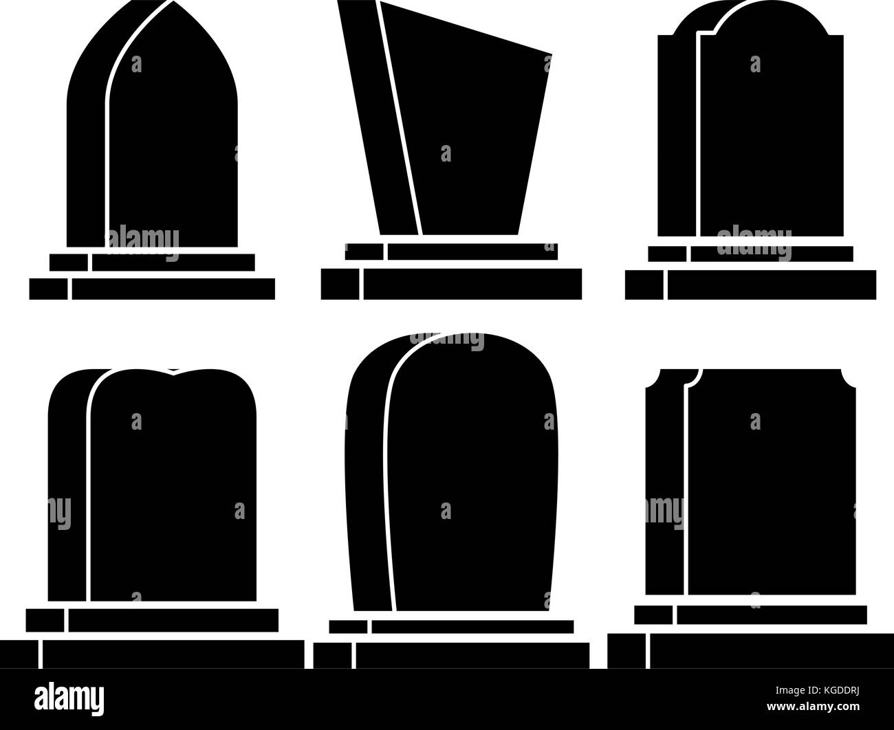 gravestone set halloween icon isolated on white background - Stock Vector