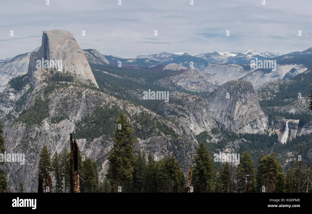 A panoramic view of Half Dome and Nevada Falls from the Panorama Trail in Yosemite National Park. Stock Photo