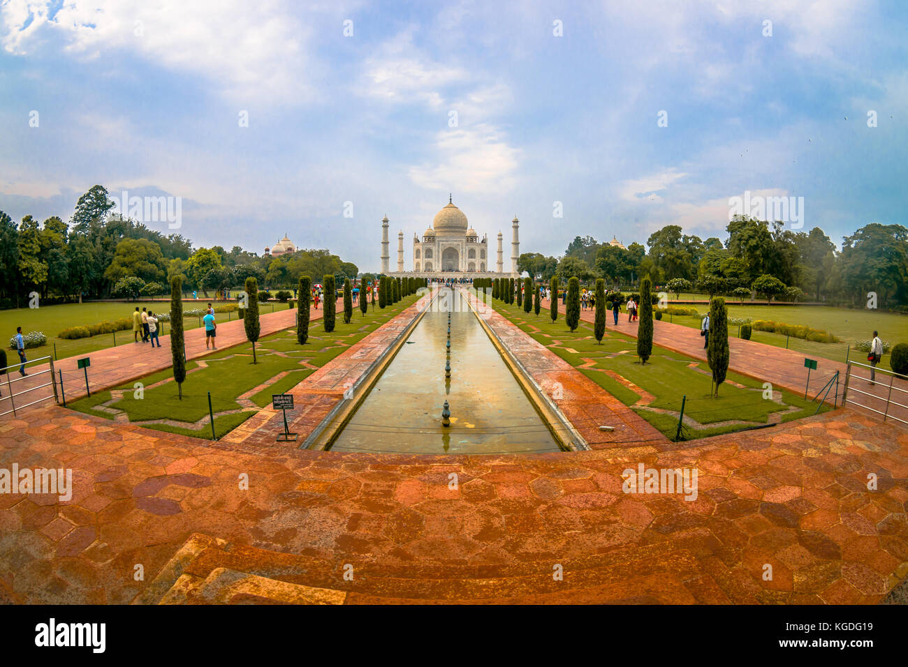 Agra, India - September 20, 2017: Unidentified people walking and taking pictures of the beautiful Taj Mahal, is - Stock Image