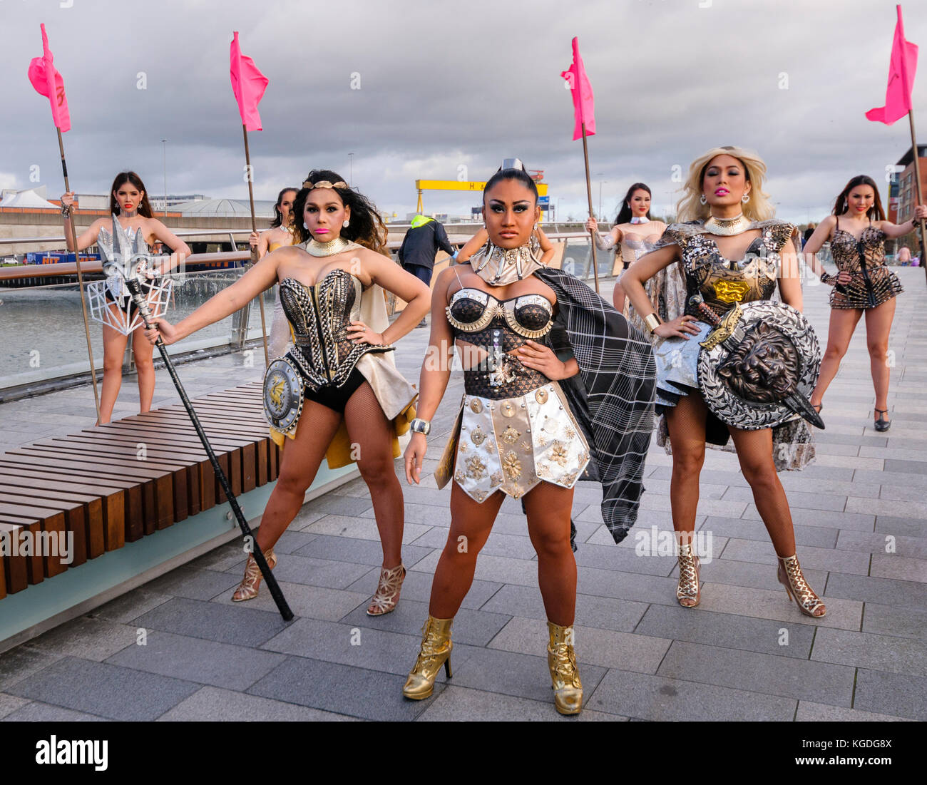Belfast, Northern Ireland. 04/11/2017 - The Ladyboys of Bangkok arrive in Belfast for 14 nights of entertainment Stock Photo