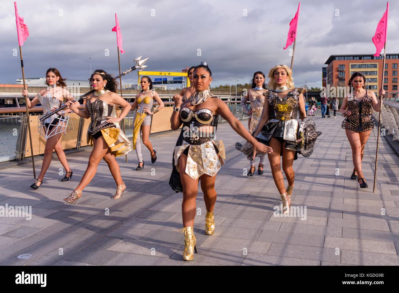 Belfast, Northern Ireland. 04/11/2017 - The Ladyboys of Bangkok arrive in Belfast for 14 nights of entertainment Stock Photo