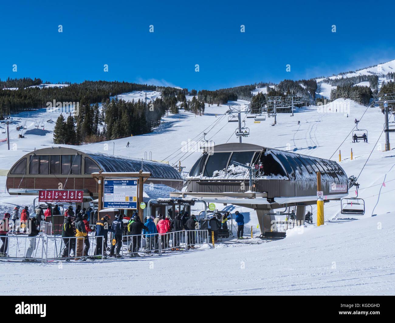Chairlifts, Peak 8 Base, winter Breckenridge Ski Resort, Breckenridge, Colorado. - Stock Image