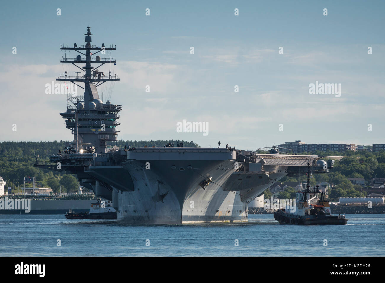 United States Navy (USN) nuclear-powered aircraft carrier (CVN) DWIGHT D. EISENHOWER in the harbour at Halifax, - Stock Image