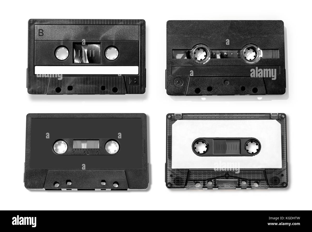 Old compact audio cassette (tape), macro shot on white background - Stock Image