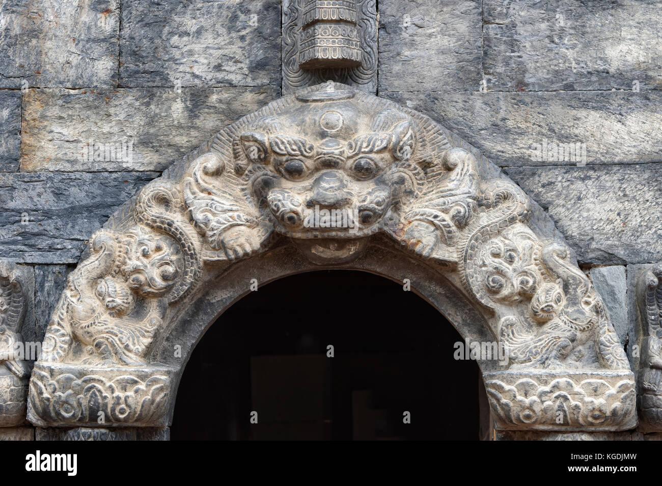 Detail of a shrine, Pashupatinath Temple, Unesco World Heritage Site, Kathmandu, Nepal - Stock Image