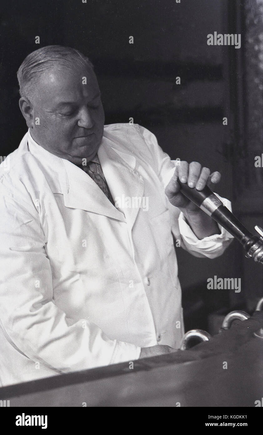 1950s, historical picture showing a close-up of a an elderly and portly pub landlord wearing a white coat pouring - Stock Image