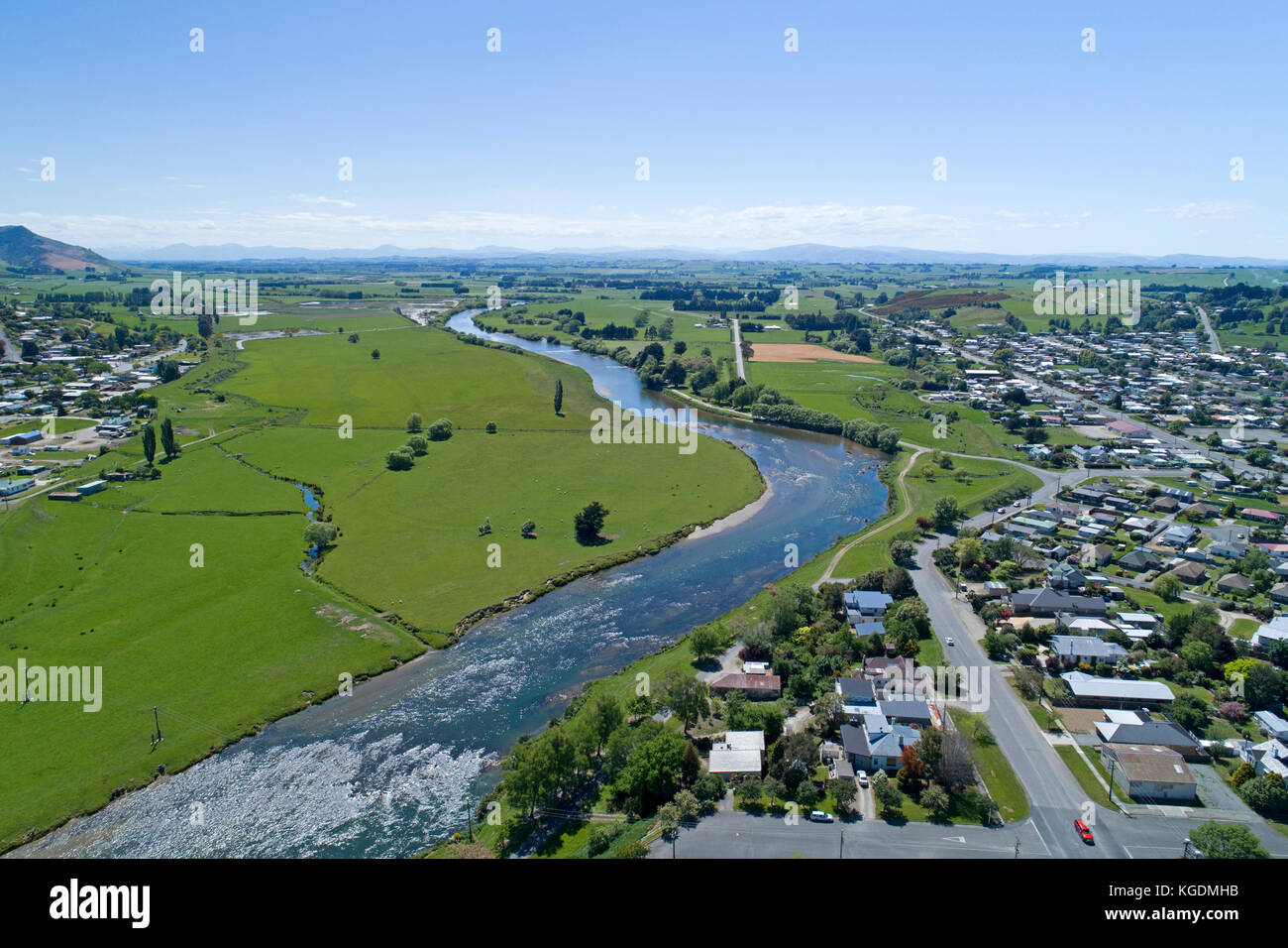 Mataura River, Gore, Southland, South Island, New Zealand - drone aerial - Stock Image