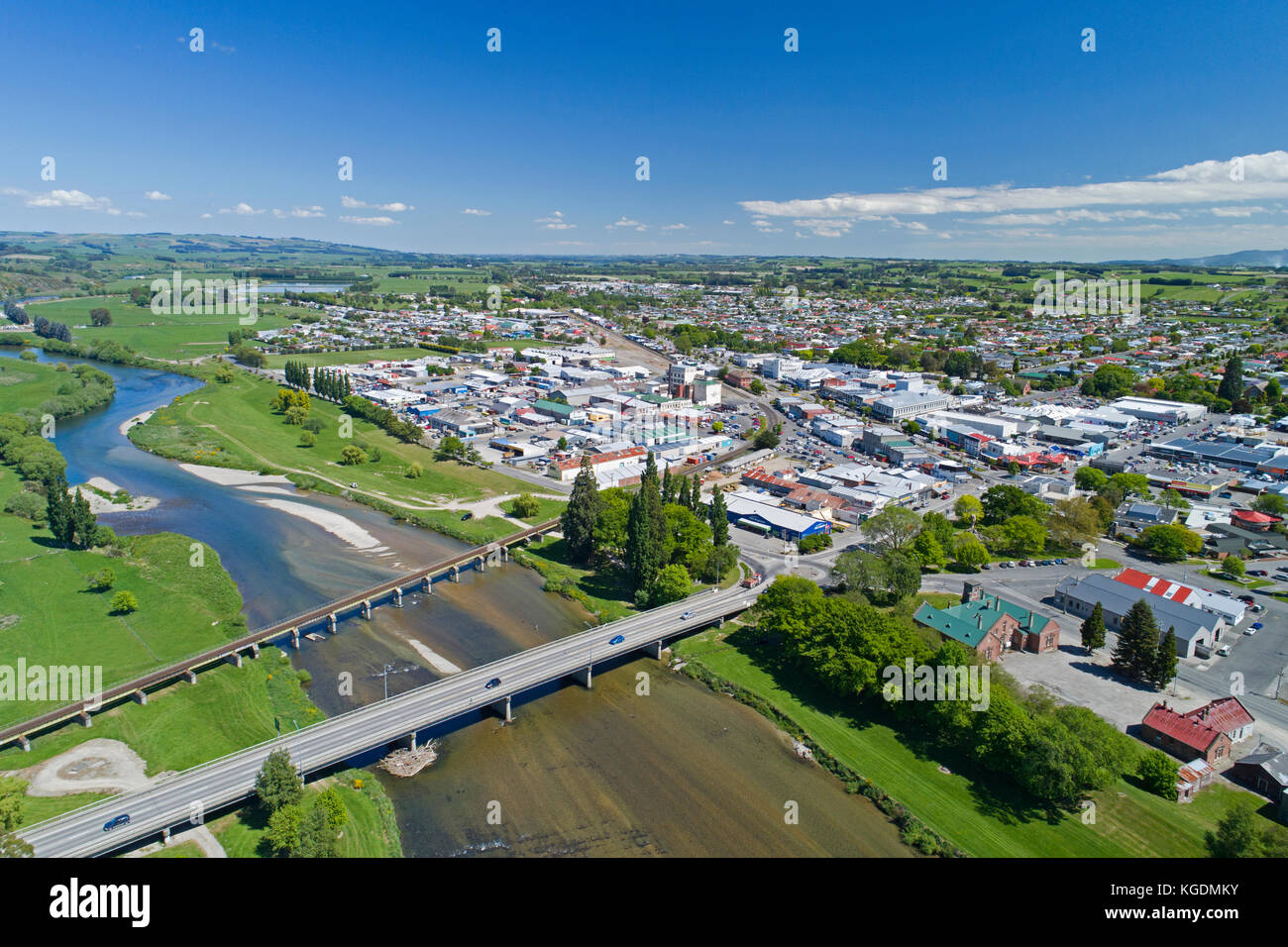Bridges over Mataura River, Gore, Southland, South Island, New Zealand - drone aerial - Stock Image