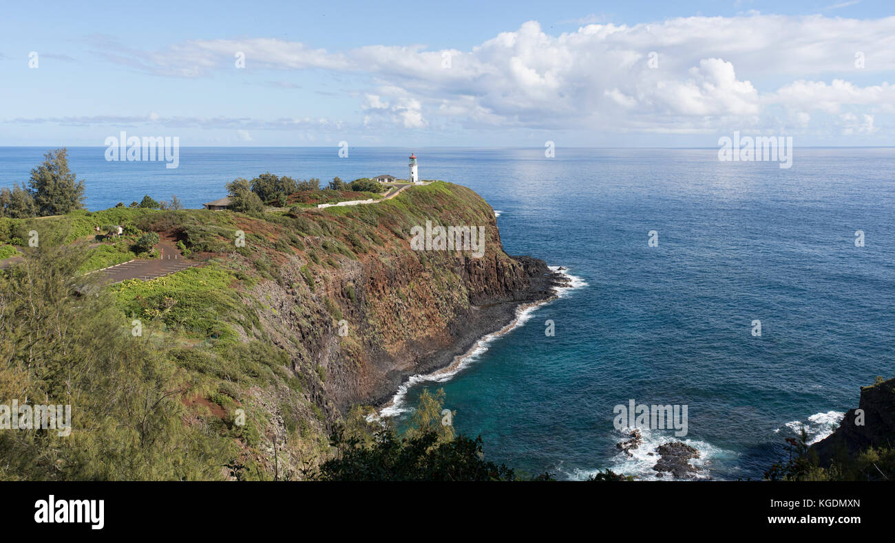 Kilauea Lighthouse point seabird Kauai Hawaii. Garden Isle. Built in 1912 for marine and aerial navigation beacon - Stock Image