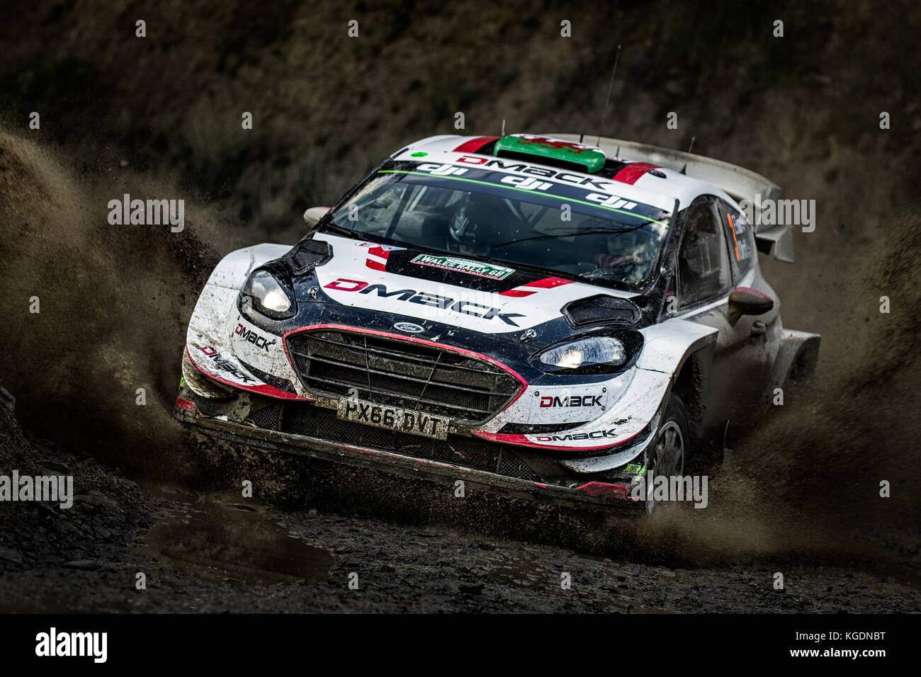Elfyn Evans on way to victory in the  WRC World Rally Championship Day Insure Wales Rally GB 2017 - Stock Image