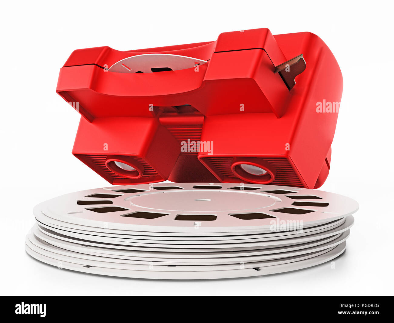 Red vintage 3D slide viewer isolated on white background. 3D illustration. Stock Photo