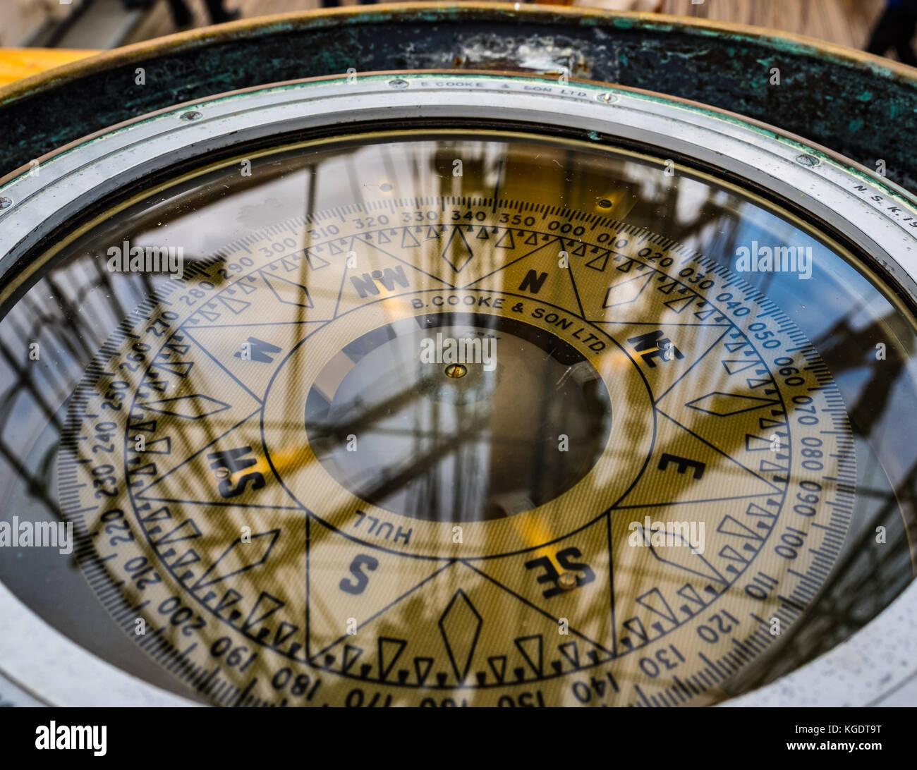 Compass from Tall Ship 'Kaskelot'. Southampton, England, UK. - Stock Image