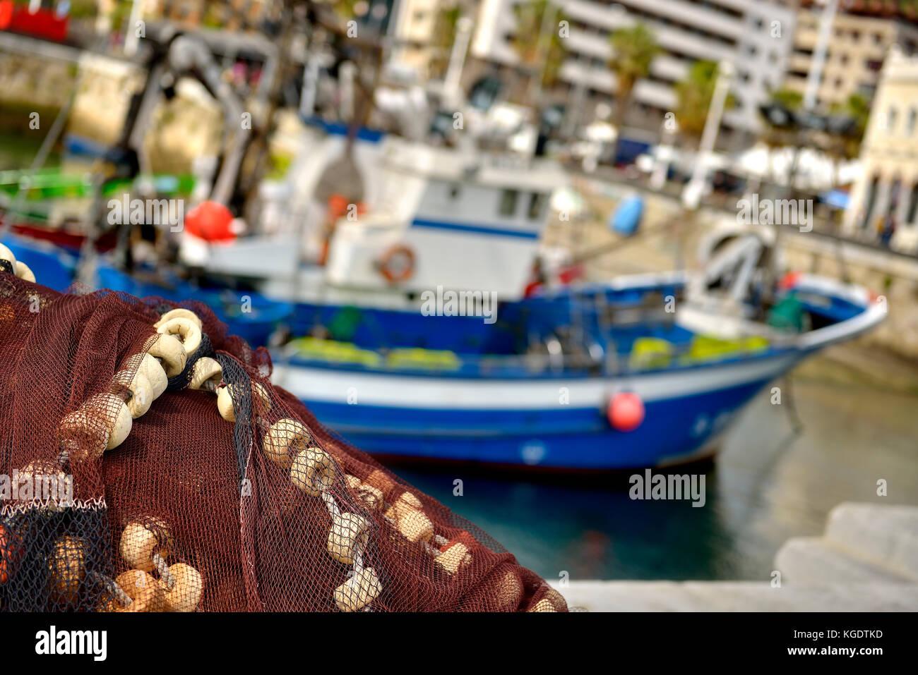 Fishing gear in Santurce, Biscay, Basque Country, Euskadi, Spain, Europe - Stock Image